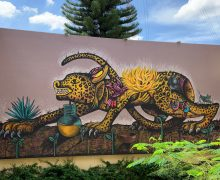 Jaguar mural by Ulises Martinez. Casa de Barro, Oaxaca