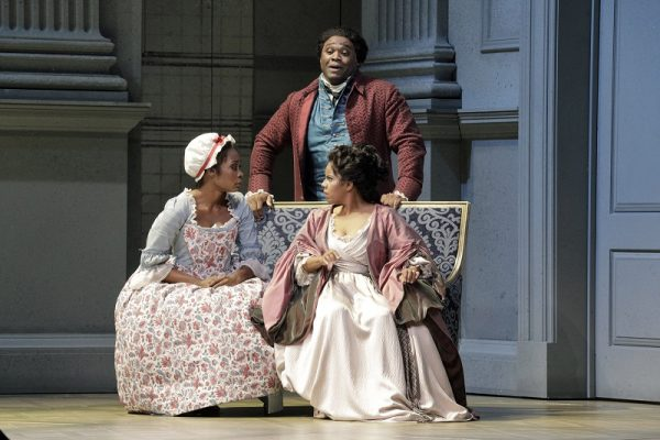 Jeanine De Bique as Susanna, left, Michael Sumuel as Figaro and Nicole Heaston as the Countess in Mozart's The Marriage of Figaro. Photo: Cory Weaver/San Francisco Opera.