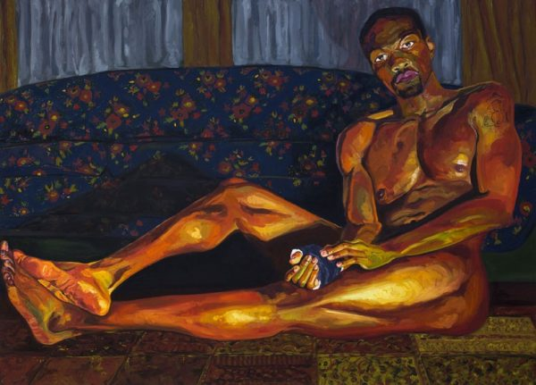 Jordan Casteel, Yahya, 2014; oil on canvas; collection of Jim and Julie Taylor; © Jordan Casteel; image courtesy of Sargent's Daughters, New York.