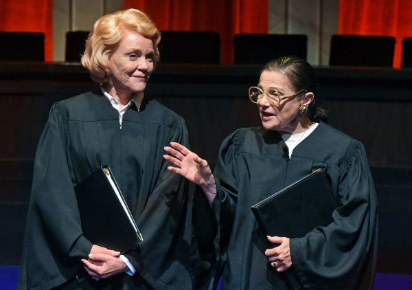 l-r, Stephanie Faracy & Tovah Feldshuh in Sisters In Law at the Wallis Theatre in Beverly Hills.
