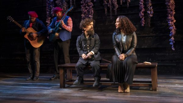 Nehal Joshi, Scott Stangland, Peter Dinklage, and Jasmine Cephas Jones in Cyrano. Credit: Monique Carboni