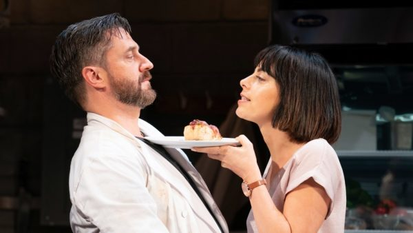 Raul Esparza and Krysta Rodriguez in Seared. Credit: Joan Marcus