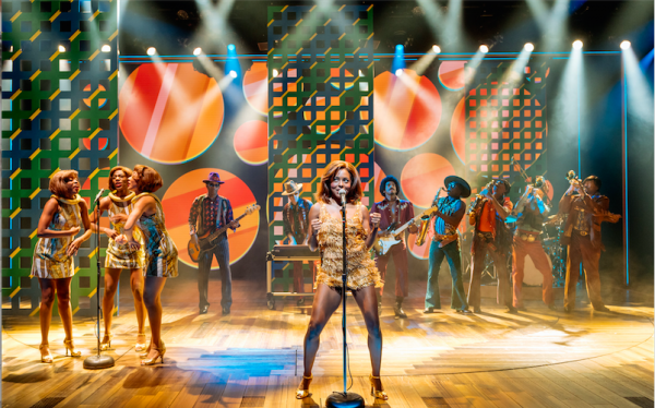 Adrienne Warren (center) in Tina: The Tina Turner Musical. Credit: Manuel Harlan