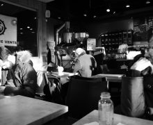 setting, scene, situation and light at a coffee shop