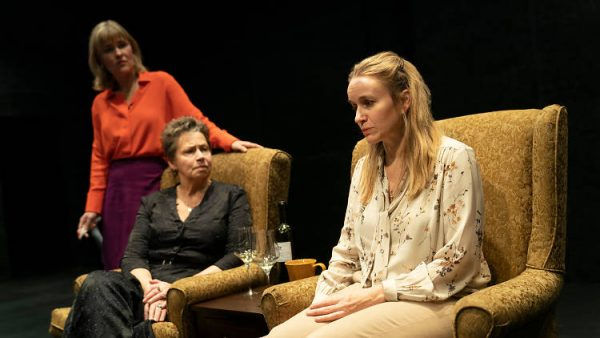 Kelly McAndrew, Randy Danson, and Emily Cass McDonnell in The Thin Place. Credit: Joan Marcus