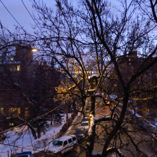 streetscape at dawn