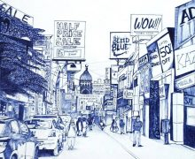 A commercial marketplace in Bangalore made with blue ballpoint pen