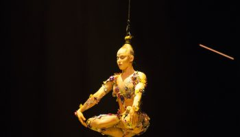 Suspended from her hair/head, Mirage produces a hypnotic effect on the audience.