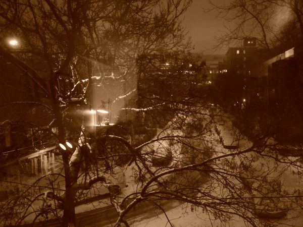 winter streetscape at night