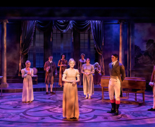 "Samantha Eggers (center) with the company of the Ensemble Theatre Company's production of ""JANE AUSTEN'S EMMA,"" book, music and lyrics by Paul Gordon, directed by Andrew Barnicle and now playing at the NEW VIC THEATRE in Santa Barbara."