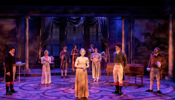 """Samantha Eggers (center) with the company of the Ensemble Theatre Company's production of """"JANE AUSTEN'S EMMA,"""" book, music and lyrics by Paul Gordon, directed by Andrew Barnicle and now playing at the NEW VIC THEATRE in Santa Barbara."""