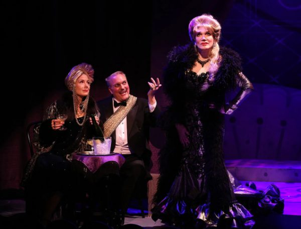 Jennifer Van Dyke, Christopher Borg, and Charles Busch in The Confession of Lily Dare. Credit: Carol Rosegg