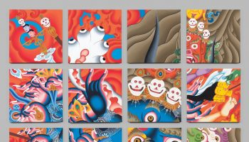Tsherin Sherpa, Luxation 1, 2016, set of 16 panels, acrylic on cotton canvas; Virginia Museum of Fine Arts, Adolph D. and Wilkins C. Williams Fund. Photograph © Virginia Museum of Fine Arts, photo by Travis Fullerton.)