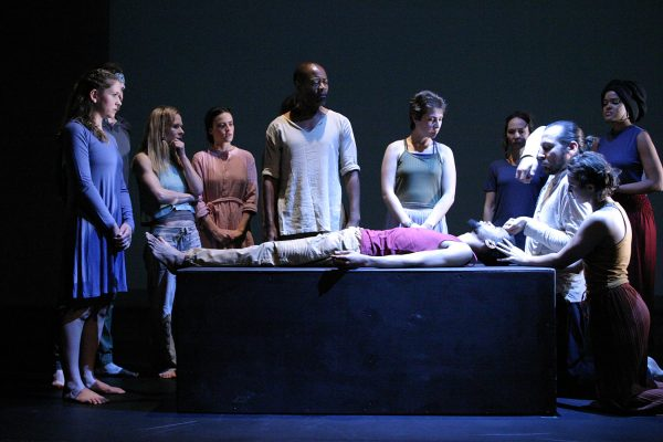 The cast of the Odyssey Theatre's revival of Jean-Claude van Itallie's The Serpent.