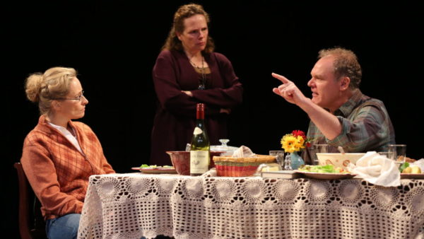 Laila Robbins, Maryann Plunkett, and Jay O. Sanders in That Hopey Changey Thing, one of Richard Nelson's Apple Family Plays. Credit: Carol Rosegg