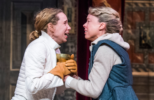 Michelle Terry and Catron Aaron in Hamlet, presented by Shakespeare's Globe on YouTube. Credit: Tristram Kenton