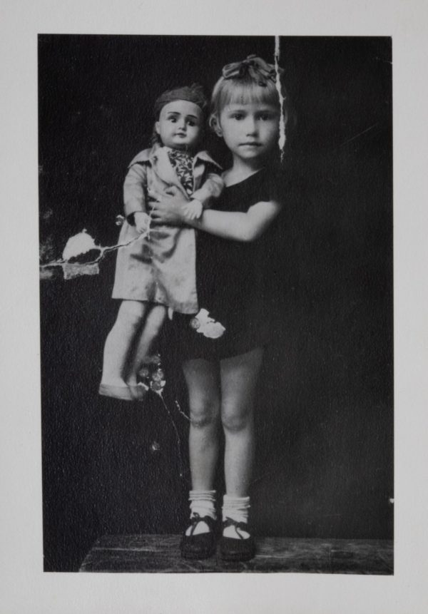 Trudie, age three, with Papa Doll, taken by a traveling photographer