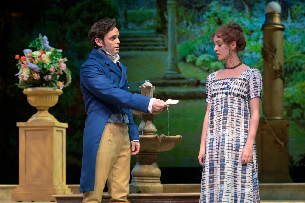 Justin Mortelliti and Mary Mattison in Pride and Prejudice which will be live streamed on April 10. Credit: Kevin Berne