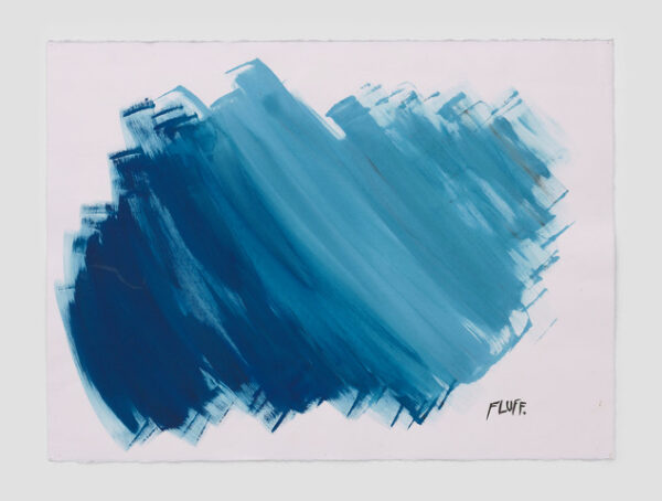 No Title (Fluff.) 2020 Ink and acrylic on paper 22 1/2 x 30 inches (57.2 x 76.2 cm) © Raymond Pettibon, Courtesy Regen Projects, Los Angeles