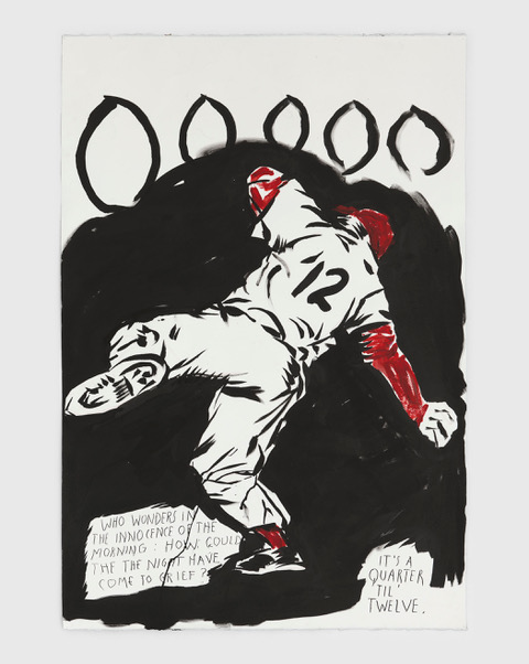 No Title (Who wonders in) 2020 Ink and acrylic on paper 44 1/2 x 30 1/8 inches (113 x 76.5 cm) © Raymond Pettibon, Courtesy Regen Projects, Los Angeles