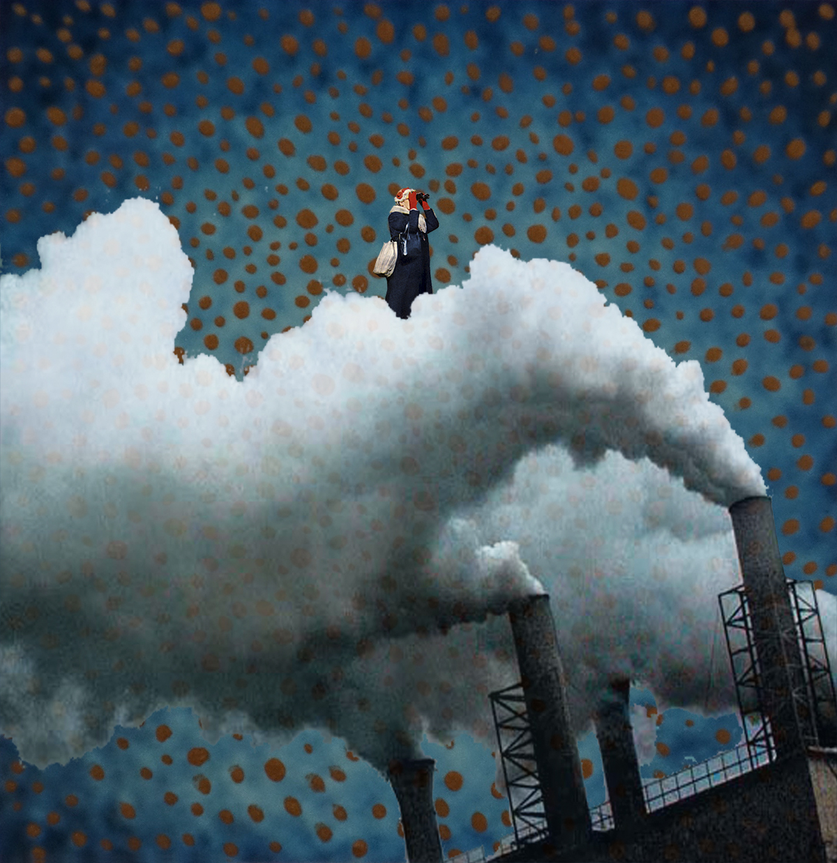 A digital collage titled Polluted of a person in a blue coat standing atop the smoke coming out of industrial smoke stacks. The background is dark blue with red orbs all around.