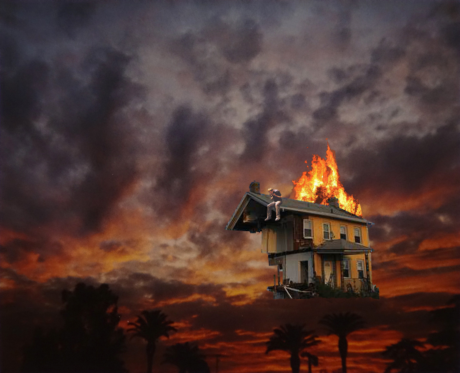 a digital painting of a house with its roof on fire in the foreground, a fiery red night sky in the background, representing climate change