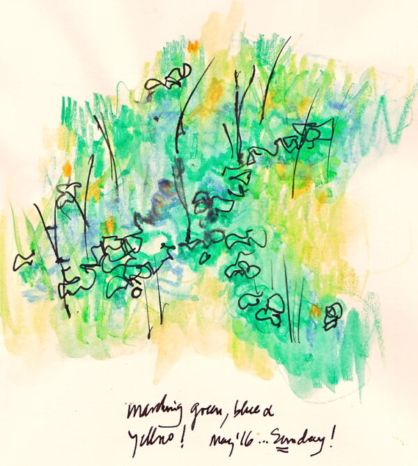 a yellow, black and green sketch of the third line of the haiku: a spluttering of colors