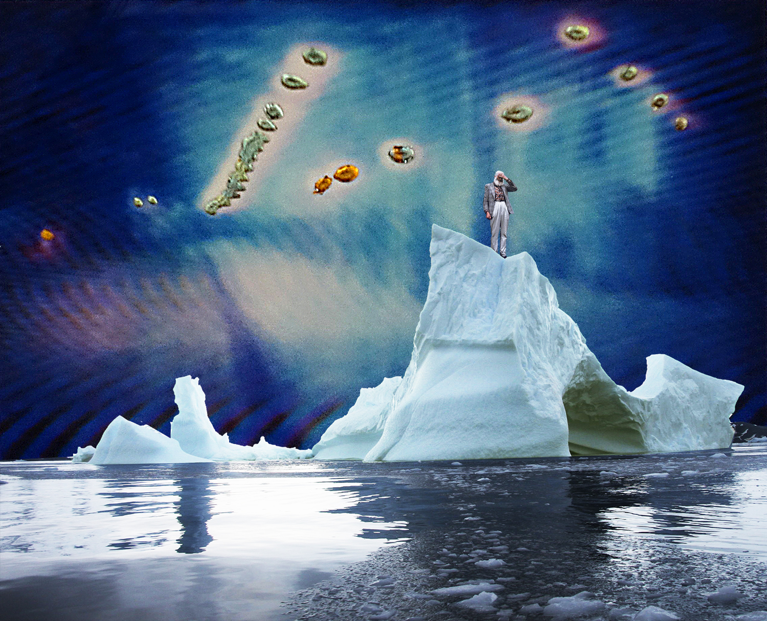 A digital collage of a person standing on top of melting ice under a blue sky and floating orbs of different colors. The iceberg is peaking up from reflective water.