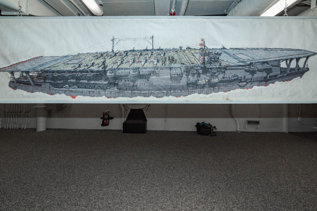 Image of a painting by JD Smith or a battleship on white canvas.