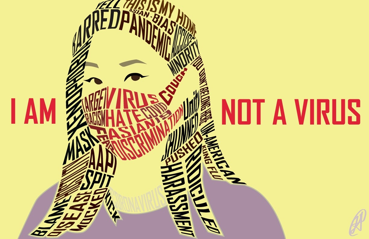 a digital art image called I Am Not A Virus, showing an asian woman in a purple shirt with a yellow background, her hair and mask made up of phrases of discrimination