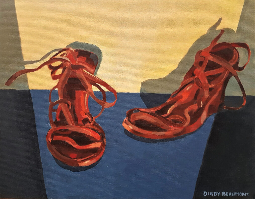 Two of two collaborations: Painting of a pair of brown platform shoes on a blue surface and yellow wall behind them.