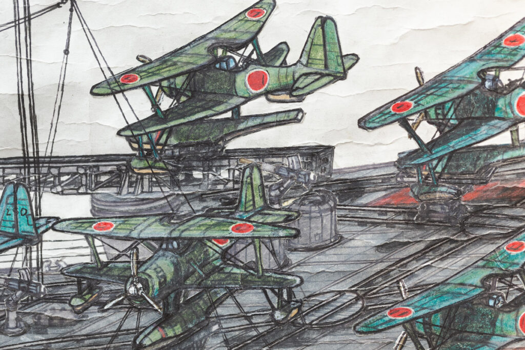 Painting of war planes with Japanese flag emblazoned on the side and wings on or flying from a battleship.