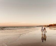 Bride and groom on a beach